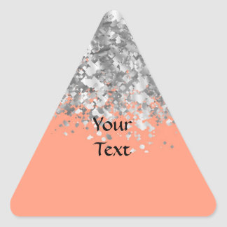 Melocotón y falso brillo personalizados pegatina triangular