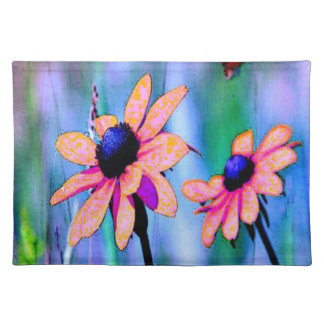 Melocotón y flores rosadas manteles individuales