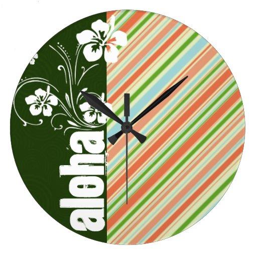 Melocotón y Forest Green rayados; Hawaiana Relojes