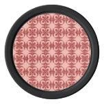 Melocotón y geométrico floral rojo juego de fichas de póquer