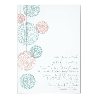 """Melocotón y globos azules de la guita que casan la invitación 5"""" x 7"""""""