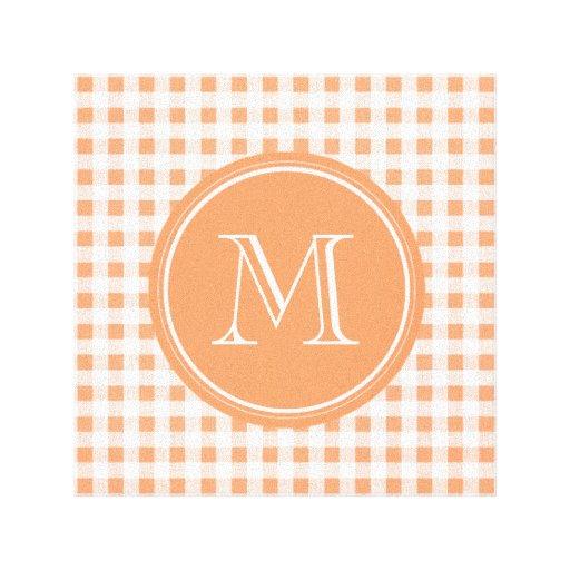 Melocotón y guinga blanca, su monograma impresión en lona
