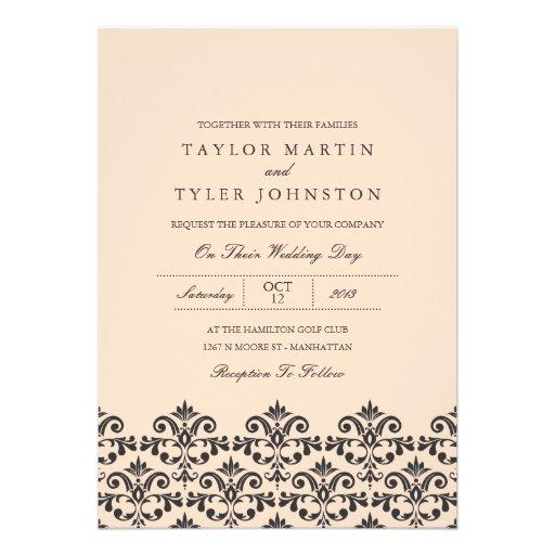 Melocotón y invitación gris del boda del damasco