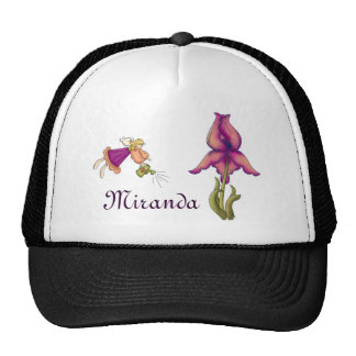 Melocotón y iris púrpura gorro