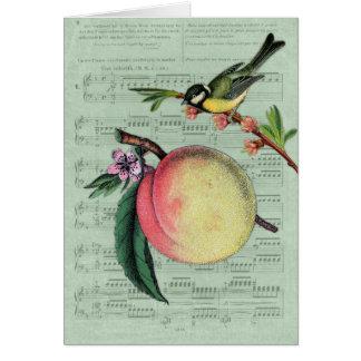 Melocotón y pájaro del vintage felicitaciones
