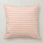 Melocotón y rayas blancas almohadas