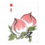 Melocotones chinos gemelos postales