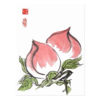 Melocotones chinos gemelos postal