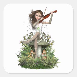 Melodía de hadas del ~ de la ágata de musgo pegatina cuadrada