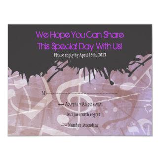 MELODÍA de la tarjeta de contestación de Mitzvah Invitacion Personal