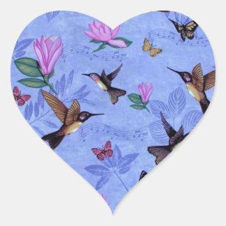 Melodía del colibrí pegatina en forma de corazón