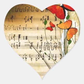 Melodía del verano pegatina en forma de corazón
