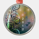 Melodic Abstract Round Metal Christmas Ornament