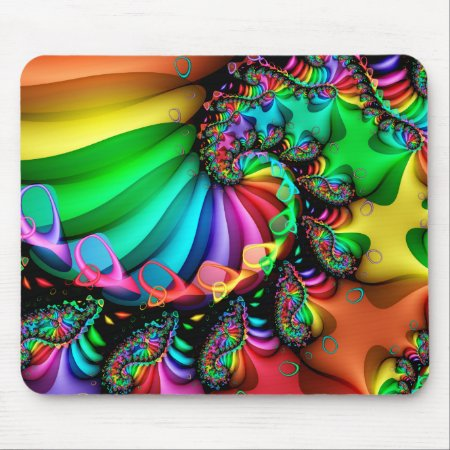 Melodic Rainbow Fractal Spiral Mouse Pad