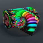 """Melodic Rainbow Fractal Spiral Tie<br><div class=""""desc"""">This colorful fractal art spiral design has red,  orange,  yellow,  green,  blue,  purple,  pink,  and black colors.</div>"""
