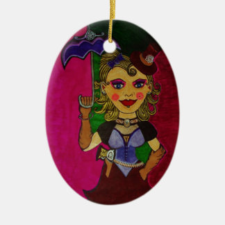 """""""Melody"""" Double-Sided Oval Ceramic Christmas Ornament"""