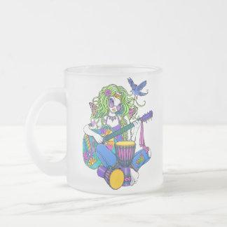 """Melody"" Rainbow Guitar Hippie Fairy Frosty Mug"