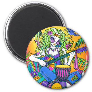 """Melody"" Rainbow Guitar Hippie Fairy Magnet"