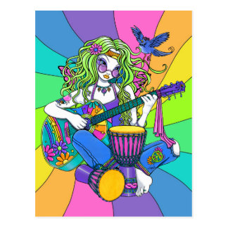 Melody Rainbow Guitar Hippie Fairy Postcard