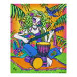 """Melody"" Rainbow Guitar Hippie Fairy Poster"