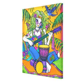 """Melody"" Rainbow Hippie Fairy Wrapped Canvas Print"