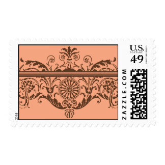 Melon and Chocolate Brown  Delphi by Delphine Postage Stamps