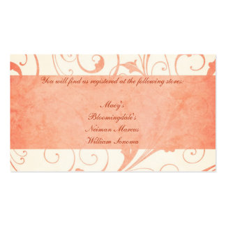 Melon and Cream Wedding Invitation Gift Registry C Double-Sided Standard Business Cards (Pack Of 100)