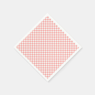 Melon And White Gingham Checkered Napkin