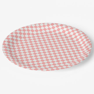Melon And White Gingham Checkered Paper Plate