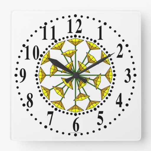 Melon And Yellow Floral 210 Wall Clock