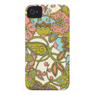 Melon & Blue Floral iPhone 4 Case-Mate Case