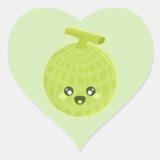 Melón de Kawaii Pegatina En Forma De Corazón