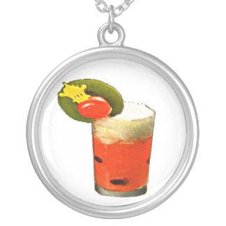 Melon Drink Round Pendant Necklace