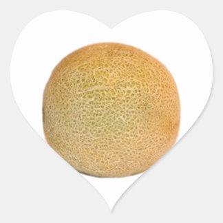 Melón entero del cantalupo pegatina en forma de corazón