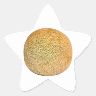 Melón entero del cantalupo pegatina en forma de estrella