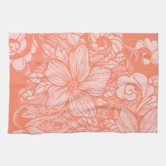 Melón floral del flujo toallas de cocina