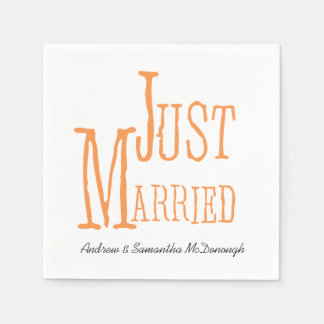 Melon Just Married Personalized Paper Napkins