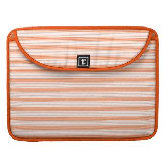 Melon Orange & White Stripes Sleeves For MacBooks