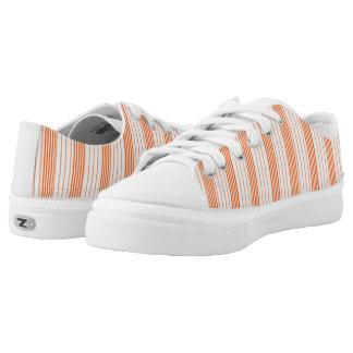 Melon Orange & White Stripes Vertical Printed Shoes