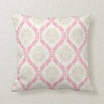melon pink cream taupe damask pattern throw pillow