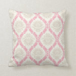 melon pink cream taupe damask pattern throw pillow