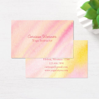 Melon Pink Watercolor Wash Business Card