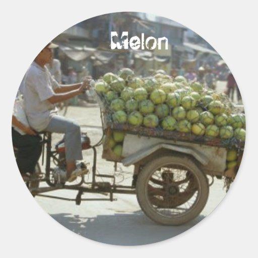 Melon Round Stickers