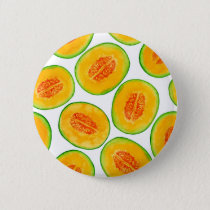 Melon slices watercolor pattern button