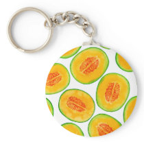 Melon slices watercolor pattern keychain