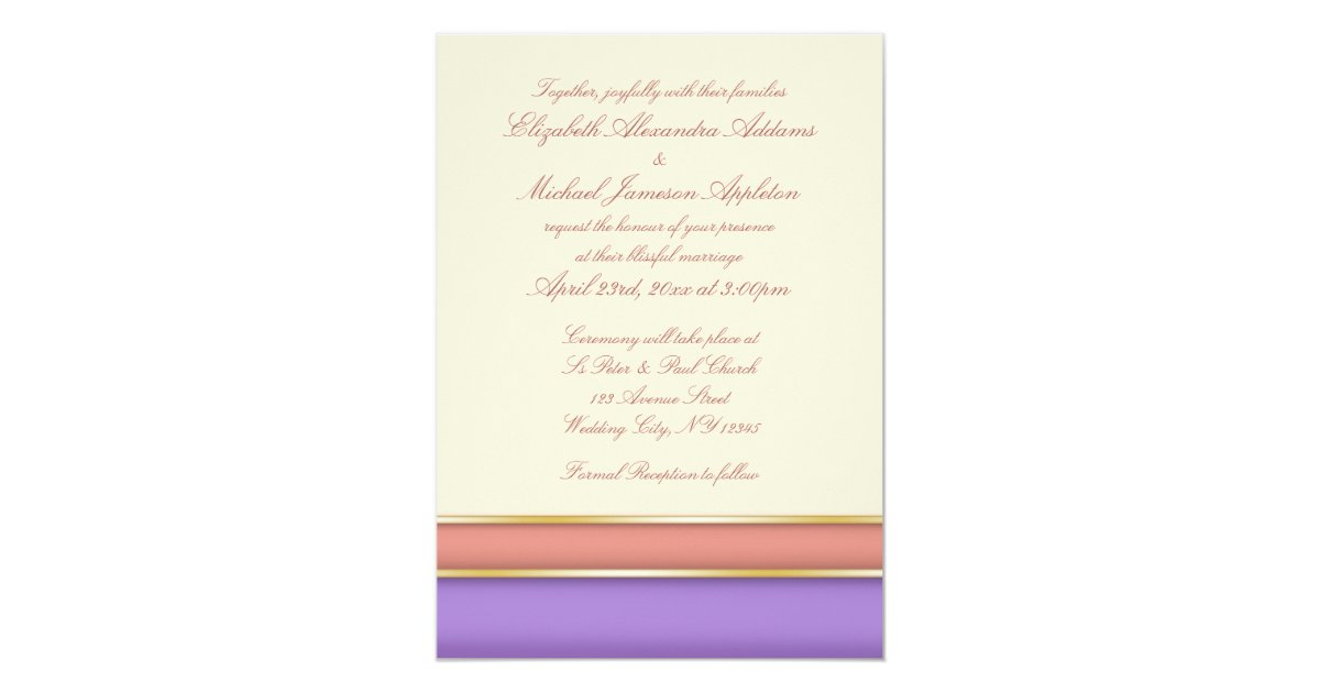 Melon Violet Gold And Beige Wedding Invitations