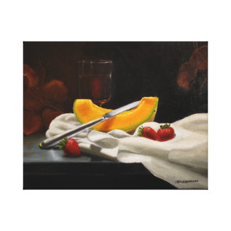 Melon with Berries Original Oil Painting Canvas Print