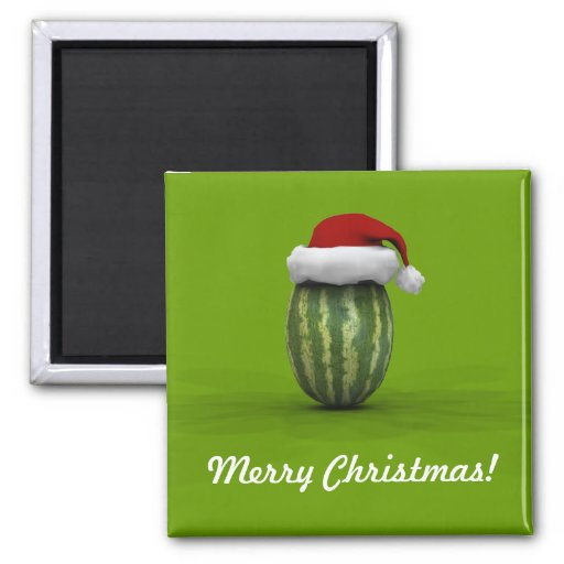 Melon With Santa Hat 2 Inch Square Magnet