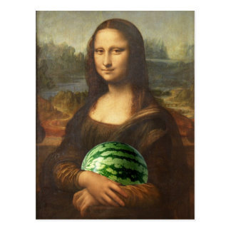 Melona Lisa Wishes Happy National Watermelon Day Postcard