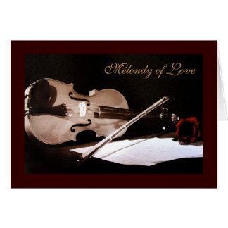 Melondy of Love Vintage Violin Valentines Day Card